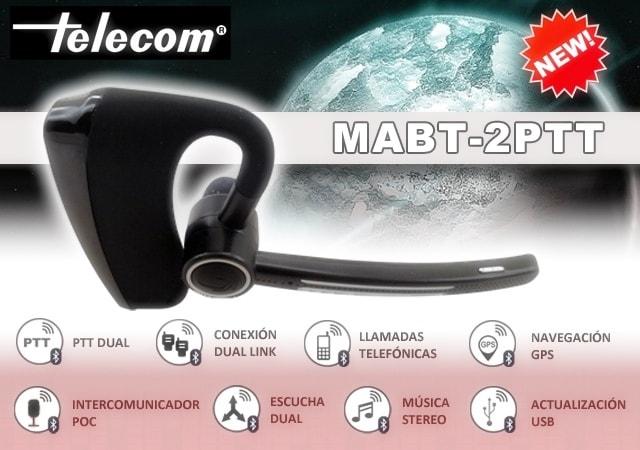Micro-auricular Bluetooth TELECOM con 2 PTT MABT-2PTT